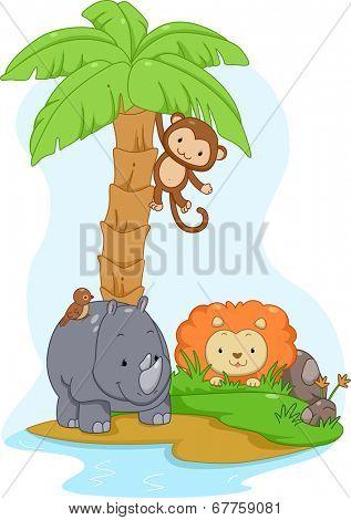 Illustration Featuring Cute Safari Animals on an Island
