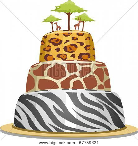 Illustration of a Tiered Cake with Safari Prints