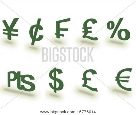 3D Money Symbols