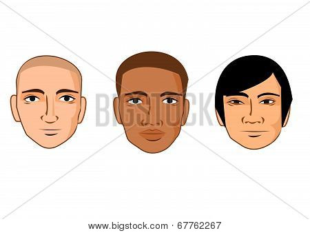 Collection of cartoon man faces of different races