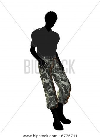 Male soldier casually dressed silhouette on a white background poster