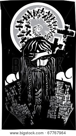 Norse God Odin With Spiral Crows