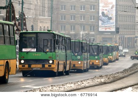Ikarus buses in a parade as a solemn farewell of high-floor buses in Poznan, Poland
