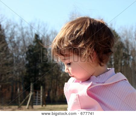 Baby Girl On Farm
