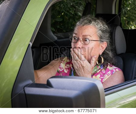 Frightened Senior Woman Driver