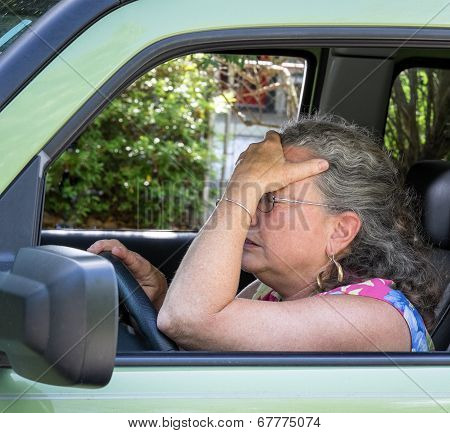 Frustrated Senior Woman Driver