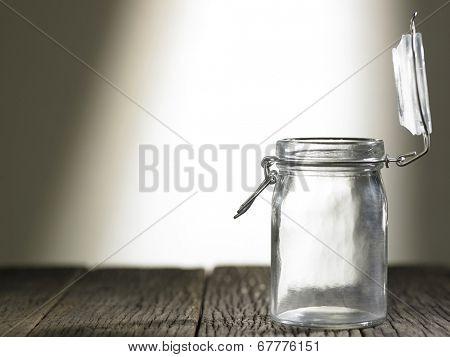 plain glass jar with open lid