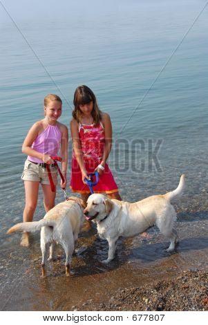 Two girls playing with dogs on a beach poster