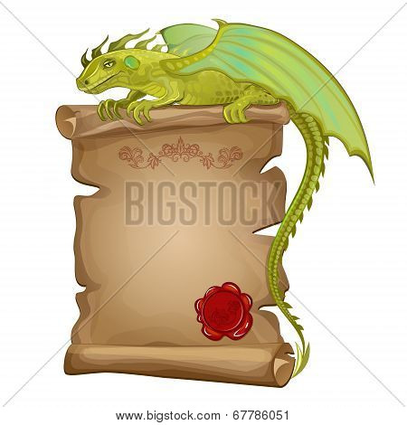 Vector illustration green dragon ancient paper scroll and wax seal poster