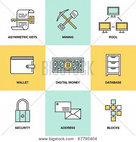 Cryptocurrency And Digital Money Flat Icons Set