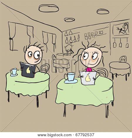 Girl in cafe flirting ogle. Vector cartoon