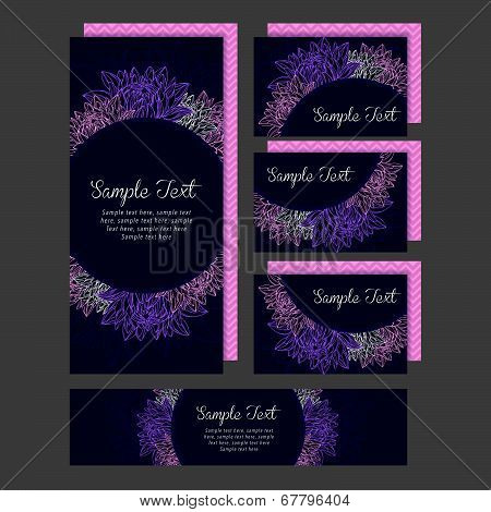 Set of wedding invitations card with lily