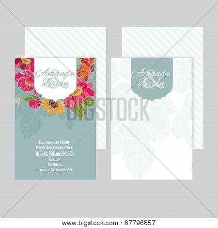 Set of wedding invitations card 02