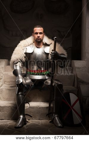 Full length portrait of medieval warrior in armor and fur mantle sitting on steps of temple with sword and shield looking vigorously at camera, dark background poster