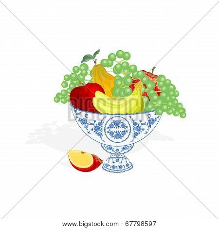Faience Bowl With Fruit Vector