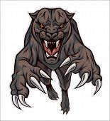 Furious and strong panther jumping on the viewer. poster