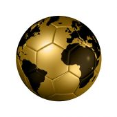 3D isolated gold soccer ball with map football poster
