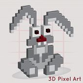 Cartoon Bunny. 3D Pixel Art for design poster