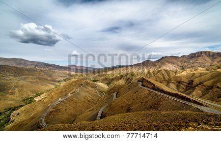 Tizi n Tichka mountain pass in High Atlas linking Ouarzazate and Marrakech Morocco poster