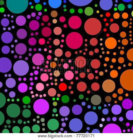 Lots of colorful circle shapes on a black background.