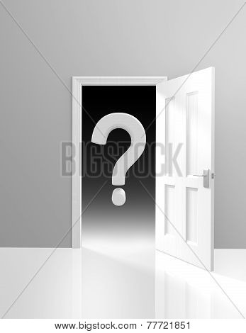 Conceptual image themed on mystery and the unknown, with a question mark behind an opening door. poster