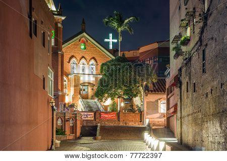 TAIPEI, TAIWAN - November 21th : The lights of Chapel of Presbyterian Church Danshuei at night in Tamsui, Taiwan on November 21th, 2014.