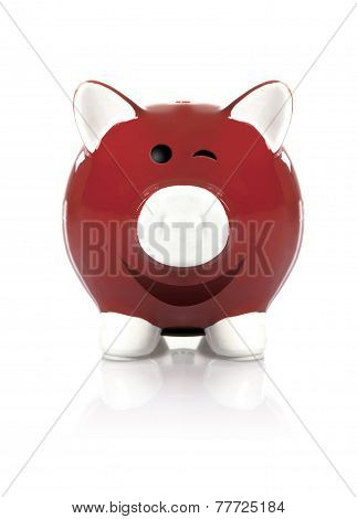 Red Piggy Bank Winking