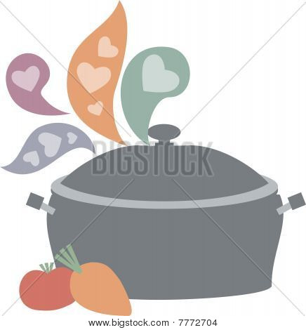Steaming love cooking soup stew pot vegetables