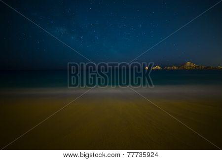 Milky Way Over Beach In Cabo San Lucas Mexico