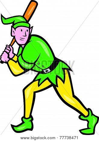 Elf Baseball Player Batting Isolated Cartoon