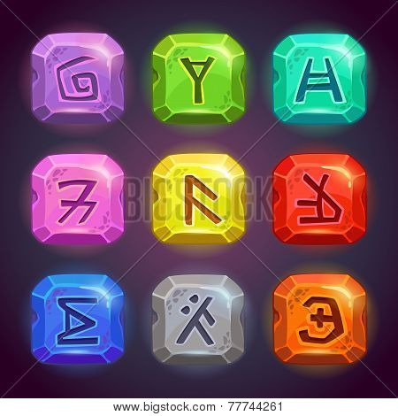 Shiny square stones with fantastic symbols.