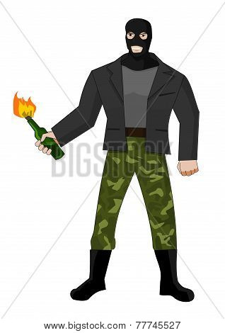 Man in mask with molotov cocktail