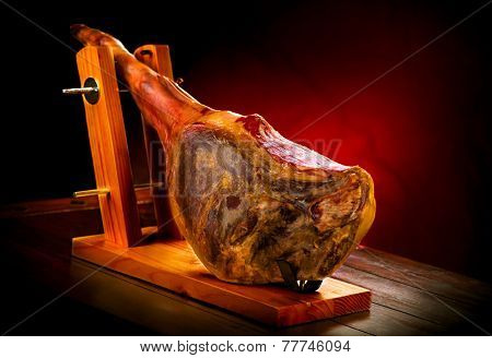 Jamon. Jamon serrano. Traditional Spanish ham on black close up. Hamon iberico