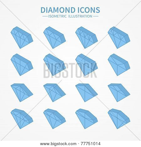 Set of diamond web icons,symbol,sign in isometric style. Diamonds collection. Elements for design. V