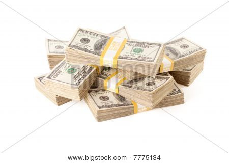 Stacks Of One Hundred Dollar Bills Isolated