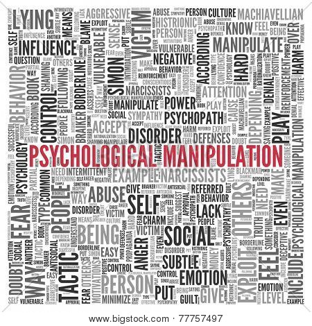 Close up Red PSYCHOLOGICAL MANIPULATION Text at the Center of Word Tag Cloud on White Background.
