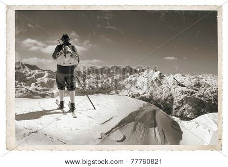 Old Photo With Old Skier
