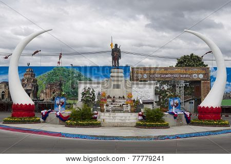 Monument to founder of Surin city Phaya Surin Phakdi Si Narong Changwang in Surin, Thailand.