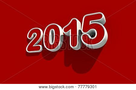New year 2015 logo on red background