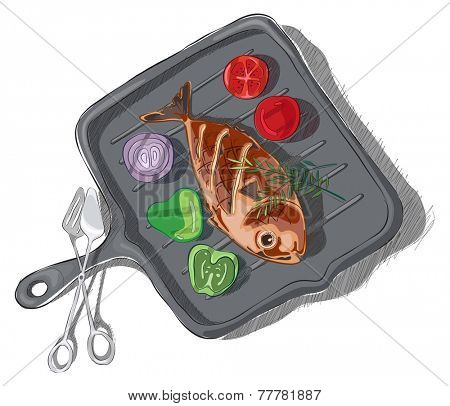 Vector illustration of fish with rosemary, tomato, pepper, and onion  in a Ridged cast iron grill pan