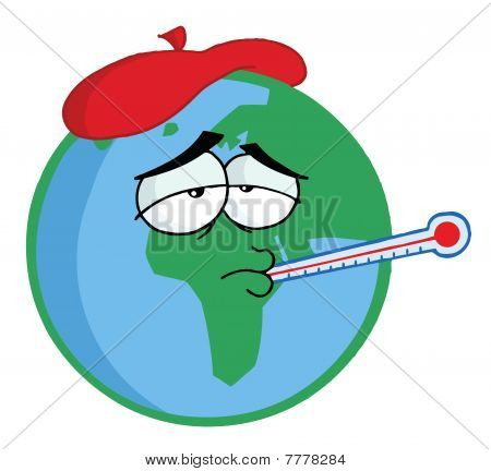 Sick Planet Earth Wearing An Ice Pack, A Thermometer