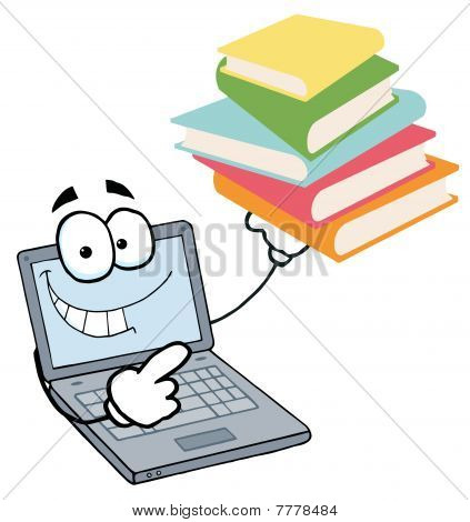 Laptop Guy Holding A Stack Of Books