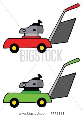 Collage Of Red And Green Lawn Mowers