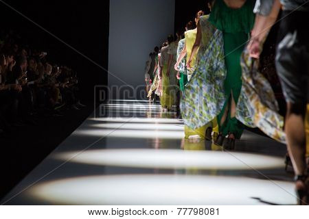 MOSCOW - OCTOBER 23: models display creation by Russian designer Mari Axel during Mercedes-Benz Fashion Week Russia on October 23, 2014 in Moscow, Russia.