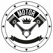 Vintage Motor Club Signs and Label with chain and pistons. Emblem of bikers and riders. poster
