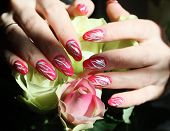 Beautiful nail design. Woman hands over  roses. poster