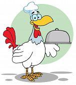 Rooster Bird Chef Serving A Platter Cartoon Character poster