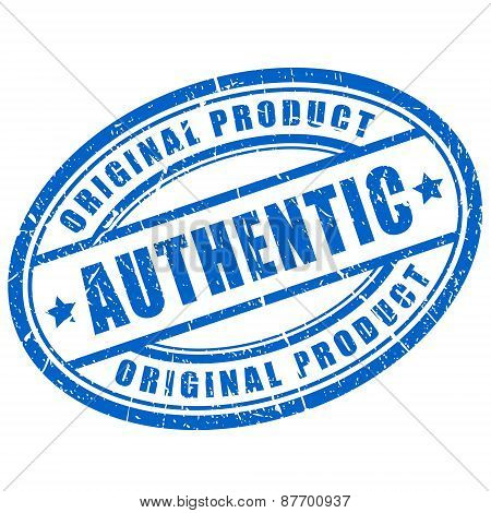 Authentic product stamp isolated on white background poster