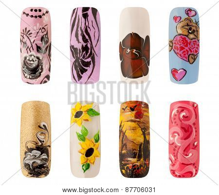Nail art handmade. Colorful nails isolated a white background