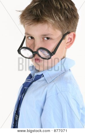 Child Looking Over Top Of Round Glasses